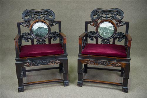 Pair of Carved Antique Chinese Chairs inset with Marble to back  Height  111cm  width. Antique Chinese Furniture For Sale   Antique Furniture