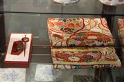Sale 8047 - Lot 67 - Japanese Obi plus boxed Japanese Lacquer and Handpainted Comb and Hair Pin w/ Mother-of-Pearl inlay.