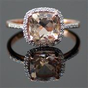 Sale 8196F - Lot 389 - A 10CT ROSE GOLD MORGANITE AND DIAMOND RING;  morganite approx. 1.71ct, diamonds 0.13ct, ring size N.