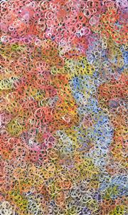 Sale 8266 - Lot 540 - Gloria Petyarre (c.1945 - ) - Mountain Devil Lizard (swirling in the sand) 150 x 95cm