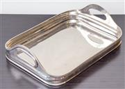 Sale 8279A - Lot 20 - A deep rectangular two handled silver plate tray, length 36cm