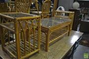 Sale 8386 - Lot 1054 - Cane Three Piece Setting incl. Pair of Side Tables & Coffee Table