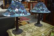 Sale 8500 - Lot 1234 - Pair of Leadlight Table lamps