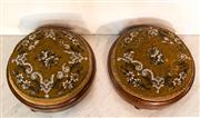 Sale 8516A - Lot 87 - A matching pair of antique footstools with original embroidered fabric, in nice condition. 12cm high x 21cm diameter