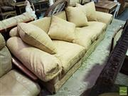 Sale 8532 - Lot 1023 - A Gold Brocade Down Filled Moran Four Seater Lounge