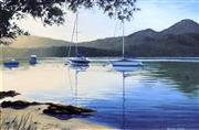 Sale 8563T - Lot 2064 - Michael Conway - Evening Glow, Tasmania, oil on board, 35 x 54.5cm, signed lower right