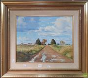 Sale 8595 - Lot 2005 - Les Graham - The Wet Lane, oil on canvas on board, 36.5x44.5cm, signed lower right -