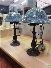 Sale 8637 - Lot 1032 - Pair of Leadlight Shade Table Lamps