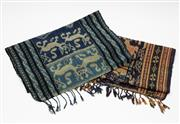 Sale 8770 - Lot 57 - Two Indonesian ikat panels, one blue one brown, 176cm x 40cm
