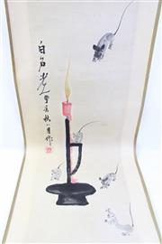 Sale 8997A - Lot 641 - Rats and candlestick themed Chinese scroll