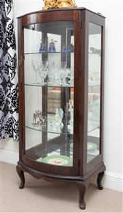 Sale 9070H - Lot 85 - A Queen Anne style bow front display cabinet with three glass shelves raised on short cabriole legs, Height 145cm x Width 63cm x De...
