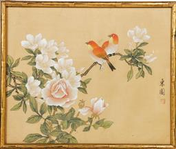 Sale 9098 - Lot 151 - Birds and Flowers themed Chinese Framed Work (H32cm x W38cm)