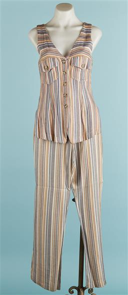 Sale 9091F - Lot 206 - A SLEEVELESS JULIE TEAL STRIPED PANT SUIT, in brown yellow and blue horizontal stripes size 12