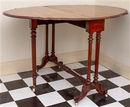 Sale 9190H - Lot 228 - An antique English mellow Brazilian rosewood Sutherland table C: 1880. The shaped drop sides of waved outline and raised on 6 legs,...
