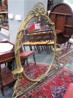 Sale 7919A - Lot 1726 - Victorian Gilt Gesso Mirror with Laced Rope Design & 2 Small Shelves