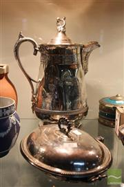 Sale 8226 - Lot 89 - Silver Plated Jug (Dented) & Warming Dish