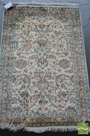 Sale 8291 - Lot 1052 - Kashmir Silk Rug with arabesques on a cream field (121 x 80cm)