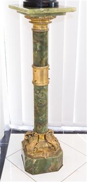 Sale 8338A - Lot 50 - An early C20th green onyx and gilt metal mounted pedestal, H 109cm