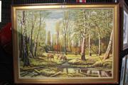 Sale 8380 - Lot 1017 - Large Oil on Board, Forest Scene with Reindeers