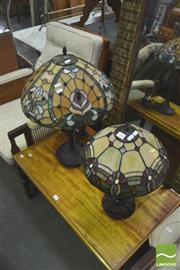 Sale 8406 - Lot 1055 - Two Leadlight Shade Table Lamps