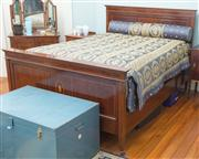 Sale 8470H - Lot 326 - A 1920s inlaid mahogany double bed with floral rosette, W 153cm, with bespoke quilt and bolster