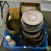 Sale 8495 - Lot 2096 - 3 Boxes of Sundries incl 2 Ice Buckets, Vintage Massager etc