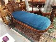Sale 8566 - Lot 1213 - Upholstered Chaise Longue with Rattan Back (145)