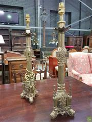 Sale 8634 - Lot 1062 - Pair of Brass Gothic Style Candlesticks Converted to Lamps, with fluted shafts, the bases with pinnacled buttresses