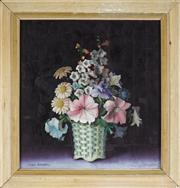 Sale 8803 - Lot 2029 - Joyce Cracknell Still Life - Spring Flowers oil on canvas on board, 39.5 x 37.5cm, signed -