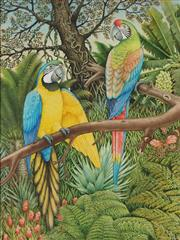 Sale 8799A - Lot 5079 - Peter Longhurst (1922 - ) - Blue and Yellow Macaws 42.5 x 32cm