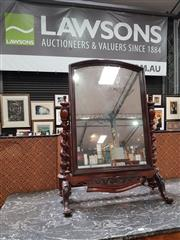Sale 8848 - Lot 1011 - Victorian Mahogany Empire Toilet Mirror, with arched mirror & barley twist supports, the knees carved with shamrock, rose and thistle