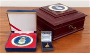 Sale 8868H - Lot 65 - A United States Airforce lockable table top desktop box together with an enamelled medallion 1947 but later, and a gold plated Conco...