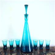 Sale 8878T - Lot 27 - Polish Blue Art Glass Drinks Set, comprising of decanter & 6 glasses Height of decanter - 36cm