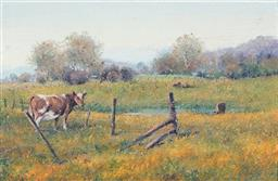 Sale 9099A - Lot 5070 - Sidney Woodward-Smith (1904 - 1972) - Cattle Grazing in the Late Afternoon Landscape, Emu Plains, 1971 14 x 21.5 cm (frame: 29 x 37...