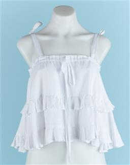 Sale 9091F - Lot 99 - A POSSE WHITE RUFFLED LINEN CROP TOP, with adjustable shoulder straps in size S/8 (some marks)