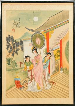 Sale 9098 - Lot 303 - Lady and attendants in garden themed Chinese Framed work (43cm x 31cm)