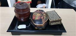 Sale 9176 - Lot 2619 - An oriental lacquered tray together with an Indian hinged box, a shaped example with elephant design and a mulgawood tobacco jar