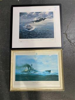 Sale 9176 - Lot 2074 - Pair of signed prints of WW2 naval scenes, largest: 55 x 60 cm framed. -
