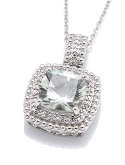 Sale 9253J - Lot 442 - A SILVER GREEN AMETHYST AND DIAMOND PENDANT NECKLACE; featuring a cushion cut green amethyst to double surround set with 12 single c...