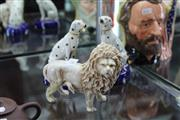 Sale 8116 - Lot 34 - Staffordshire Dalmatian Pair of Quill Holders & a German Figure of a Lion