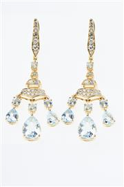 Sale 8322J - Lot 307 - A PAIR OF AQUAMARINE AND DIAMOND CHANDELIER EARRINGS; each a bale and tiered drop set with 24 single cut diamonds and a round cut aq...