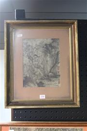 Sale 8362 - Lot 290 - Framed Chinese Painting of Monks, signed, H42.5cm x W36cm