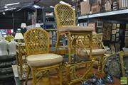 Sale 8386 - Lot 1046 - Five Piece Cane Setting incl. Three Chairs, Occasional Table & Magazine Rack