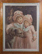 Sale 8430 - Lot 74 - Period print of two young girls wearing bonnets with a wolf hound, 83 x 67cm including framing