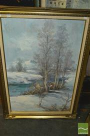 Sale 8422T - Lot 2057 - Young Woo, Winter Scene, oil painting, 105 x 75cm, signed lower right