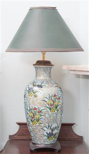 Sale 8470H - Lot 331 - A Chinese ceramic lamp depicting irises with blue crocodile print shade, total H 69cm