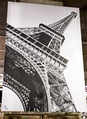 Sale 8516A - Lot 89 - A large stretched print of the Eiffel tower. 205cm high x 140cm wid