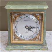 Sale 8568A - Lot 155 - A mid C20th Elliott onyx mantle clock, retailed by Hardy Bros, chip to corner, H 14cm