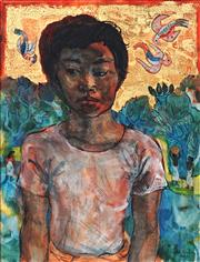 Sale 9013 - Lot 537 - Donald Friend (1915 - 1989) - Untitled (Balinese Boy, Orchard and Birds) 62.5 x 47.5 cm (frame: 86 x 70 x 4 cm)