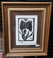 Sale 9036 - Lot 2013 - Brenda Humble Still Life colour linocut 36 x 30cm (frame) signed lower right